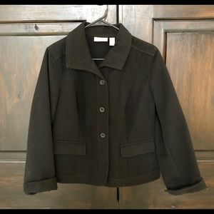 Chico's size 1 black coat buttons cuffed